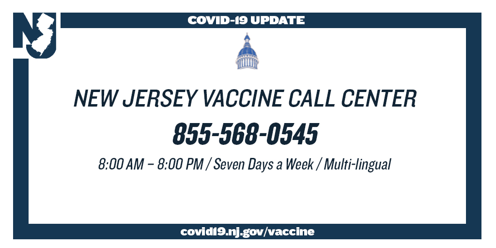 NJ Vaccine Call Center 855-568-0545